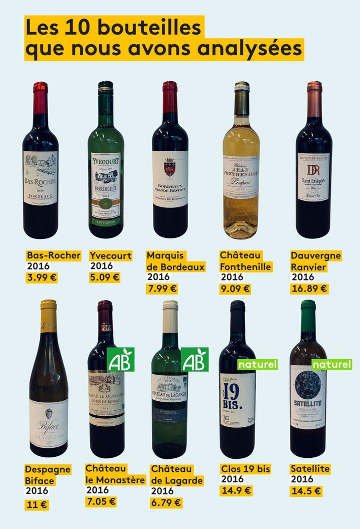 Les dix bouteilles que nous avons analysées. (VINCENT WINTER / FRANCEINFO)