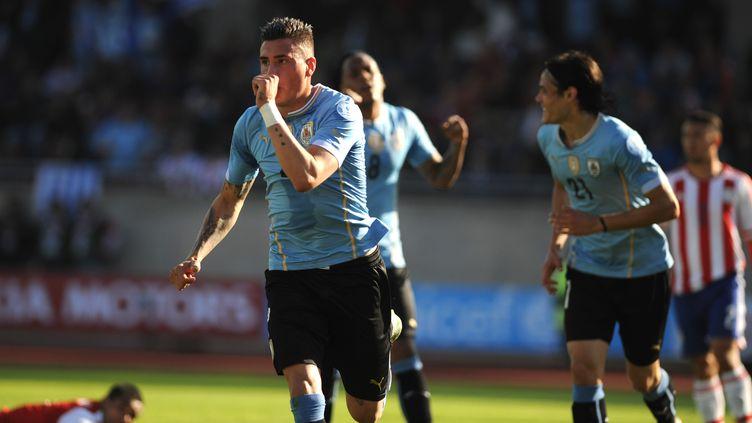 José Maria Gimenez a ouvert le score pour l'Uruguay. (VLADIMIR RODAS,VLADIMIR RODAS / AFP)