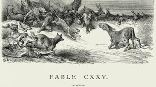 """Gravure ancienne de la Fable de La Fontaine, """"Les Animaux Malades de la Peste"""". (DUNCAN 1890 / DIGITAL VISION VECTORS / GETTY IMAGES)"""