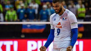 La star de l'équipe de France de volley, Earvin Ngapeth, le 9 janvier 2020. (JOHN MACDOUGALL / AFP)