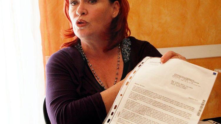 """Marie Dolores Ribas, victime du Mediator, de la pilule Melodia et du naufrage du """"Costa Concordia"""", le 3 mars 2013 à son domicile. (MAXPPP)"""