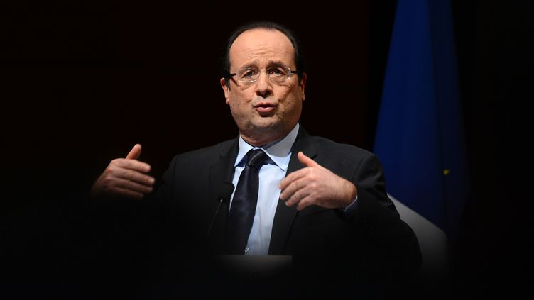 François Hollande lors de ses vœux à la jeunesse, à Grenoble (Isère), le 23 janvier 2013. (PHILIPPE DESMAZES / AFP)