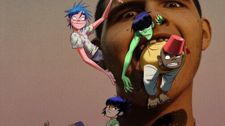 Les personnages virtuels de Gorillaz autour du visage du rappeur britannique Slowthai (janvier 2020). (JAMIE HEWLETT / GORILLAZ)