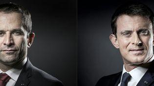 Benoit Hamon et Manuel Valls, qualifiés pour le second tour de la primaire de la gauche, au soir du premier tour, le 22 janvier 2017. (JOEL SAGET / AFP)