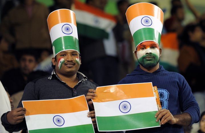 Des supporters indiens lors du match de poule de la coupe d'Asie entre le Bahreïn et l'Inde, à Doha, au Qatar, le 14 janvier 2011. (MANA VATSYANA / AFP)