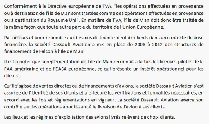 Réponse du directeur de la communication de Dassault Aviation. (DR)