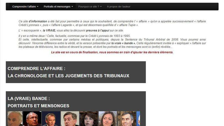 Capture d'écran du site internet affairetapie.info,lancé par le fils de Bernard Tapie, le 1er juillet 2013. (AFFAIRETAPIE.INFO / FRANCETV INFO)