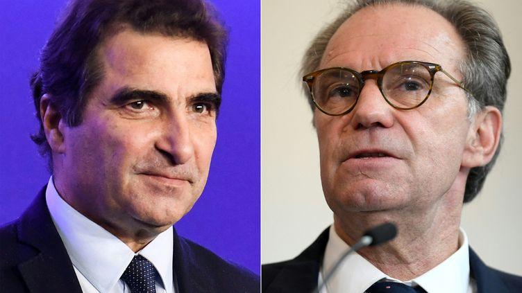 Le président des Républicains, Christian Jacob (à gauche), et le président LR de la région Paca, Renaud Muselier (à droite). (ALAIN JOCARD / AFP)