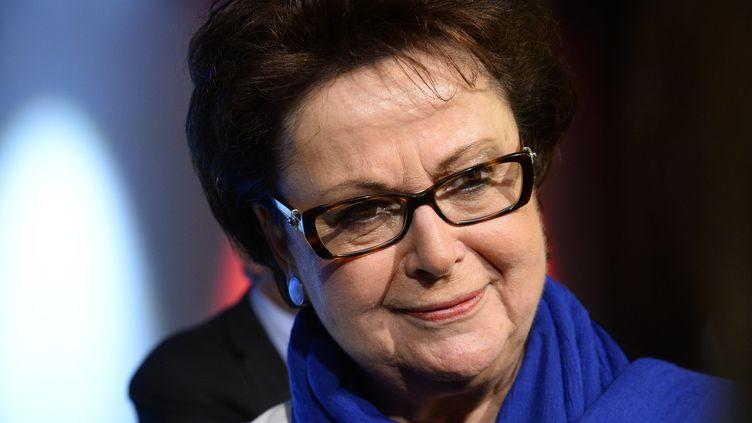 Christine Boutinen campagne pour les élections européennes en Ile-de-France sous le label Force Vie, le 17 mai 2014 à Paris. (BERTRAND GUAY / AFP)