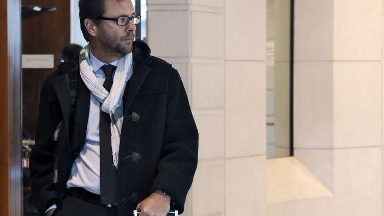 Le député européen Jérôme Lavrilleux arrive au pôle financier du palais de justice de Paris, le 9 octobre 2015. (THOMAS SAMSON / AFP)