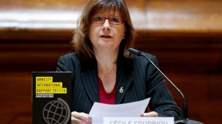 Cécile Coudriou, présidente d'Amnesty International France, le 21 février 2020. (FRANCOIS GUILLOT / AFP)