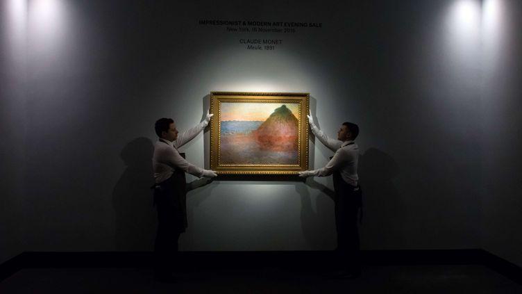 """Cette""""Meule"""" de Claude Monet a été adjugée81,4 millions de dollars, le 16 novembre 2016, àNew York (Etats-Unis). (NILS JORGENSEN / SHUTTERS / SIPA)"""