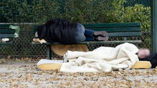 Des SDF dorment sur un banc public à Paris, le 2 novembre 2014. (Photo d'illustration) (KENZO TRIBOUILLARD / AFP)