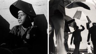 """A gauche, Dorothea Lange, """"Shipyard Worker, Richmond, California"""", vers 1943 - A droiteRé Soupault, """"Délégation de grévistes à la fête de la victoire du Front Populaire, le 14 juin 1936"""", Centre Pompidou, Paris  (A gauche © The Dorothea Lange Collection, the Oakland Museum of California, City of Oakland. Gift of Paul S. Taylor -  A droite © Centre Pompidou, MNAM-CCI/ Georges Meguerditchian/Dist. RMN-GP © Adagp, Paris 2018)"""
