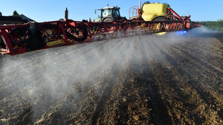 Un agriculteur français pulvérise du glyphosate, le 11 mai 2018. (JEAN-FRANCOIS MONIER / AFP)