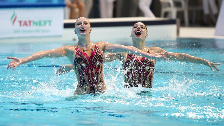 Les nageuses suisses de l'équipe de natation synchronisée aux championnats du monde junior en Russie, le 12 juillet 2016. (ALEXEY NASYROV / AFP)