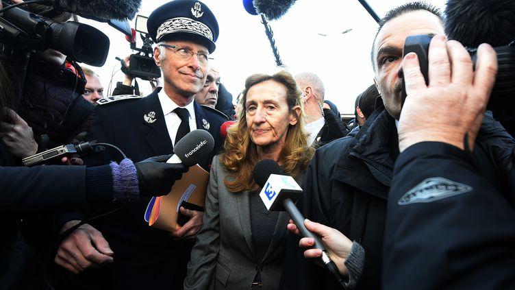La ministre de la Justice, Nicole Belloubet, lors de son arrivée à la prison de Vendin-le-Vieil (Pas-de-Calais), le 16 janvier 2018. (FRANCOIS LO PRESTI / AFP)