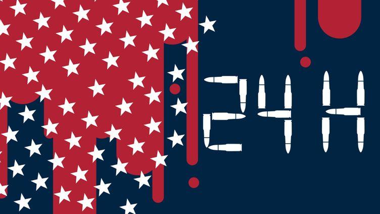 24 heures de violences par armes à feu aux Etats-Unis. (VINCENT WINTER / FRANCEINFO)