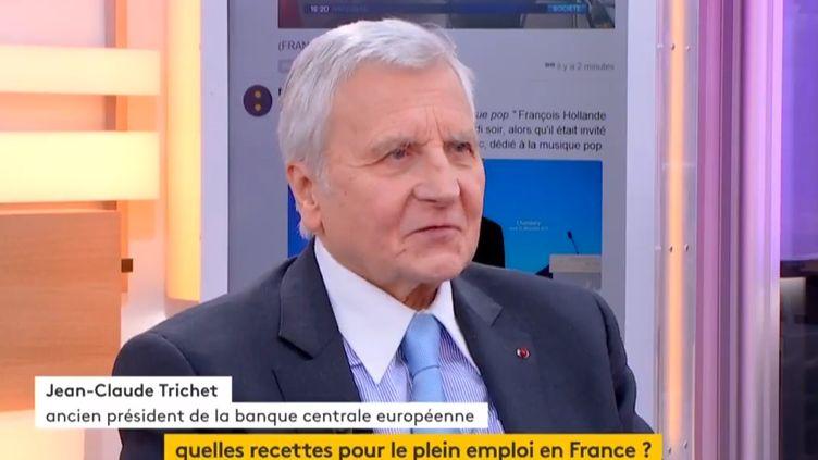 Jean-Claude Trichet, ancien président de la banque centrale européenne (BCE) tire le bilan de l'euro, quinze ans après la création de la monnaie. (FRANCEINFO)