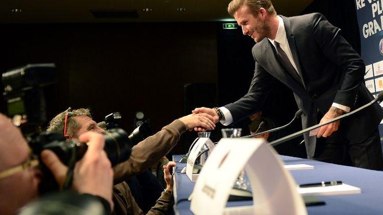 Le footballeur David Beckham à la conférence de presse donnée pour son arrivée au PSG, le 31 janvier 2013. (MARTIN BUREAU / AFP)