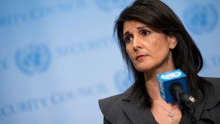 L'ambassadrice des Etats-Unis à l'ONU Nikki haley lors d'une conférence de presse à New York (Etats-Unis), le 2 janvier 2018. (DREW ANGERER / GETTY IMAGES NORTH AMERICA / AFP)
