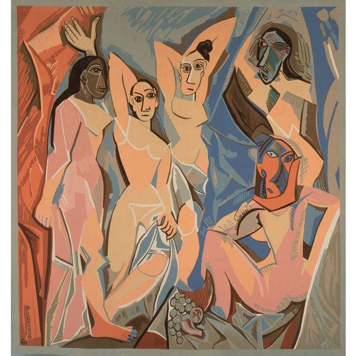 """Jacqueline de la Baume-Dürrbach (d'après Pablo Picasso), """"Les Demoiselles d'Avignon"""", Cavalaire, 1958, Fils de laine, Fundacion Almine y Bernard Ruiz-Picasso para el arte  (Succession Picasso 2018)"""