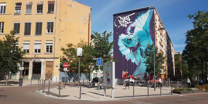 La fresque de Kalouf presque achevée, à retrouver Place des Tapis à la Croix Rousse, à Lyon.  (Mur 69 / Véronique Vilmant)