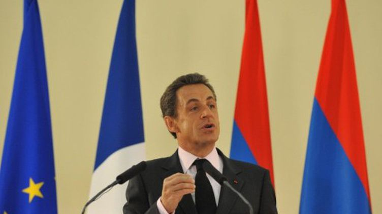 Nicolas Sarkozy lors d'une conférence à Yerevan, le 7 octobre 2011. (AFP)