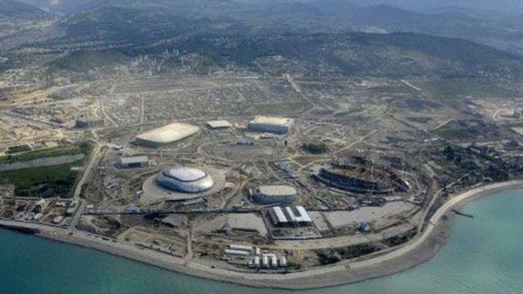Vue aérienne de la zone de construction du parc olympique de Sochi, le 18 mai 2012. (AFP PHOTO / MIKHAIL MORDASOV)