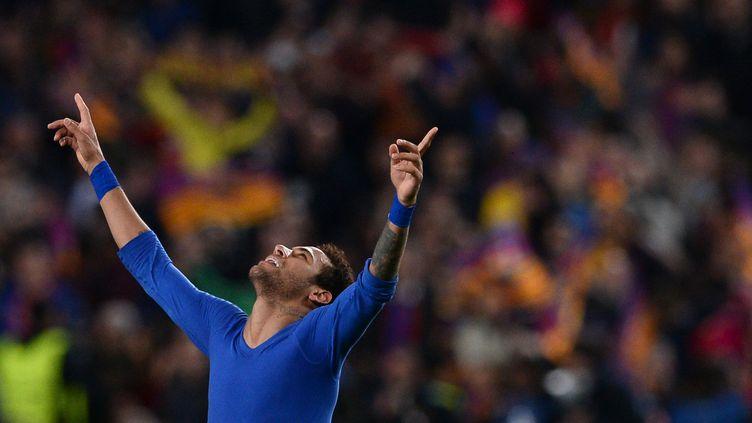 L'attaquant brésilien Neymar après la victoire du Barça contre le PSG en Ligue des Champions (6-1), le 8 mars 2017. (JOSEP LAGO / AFP)