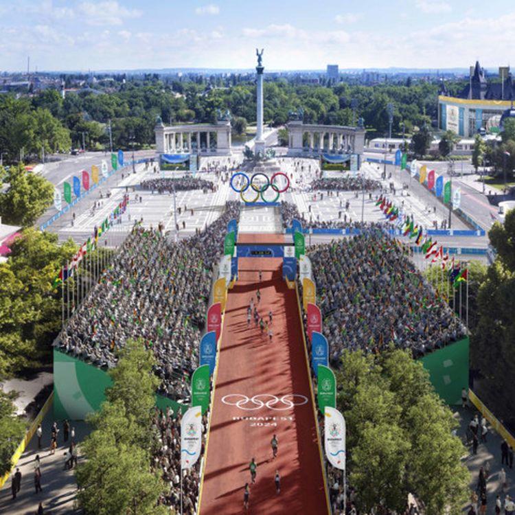L'arrivée du marathon des Jeux de 2024, dans le projet de Budapest, réalisé en images de synthèse. (BUDAPEST 2024)
