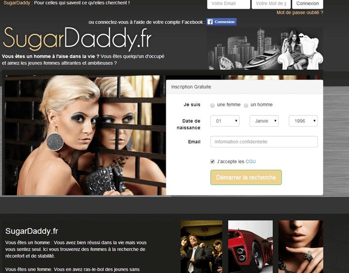 Capture d'écran de la page d'accueil de Sugardaddy.fr