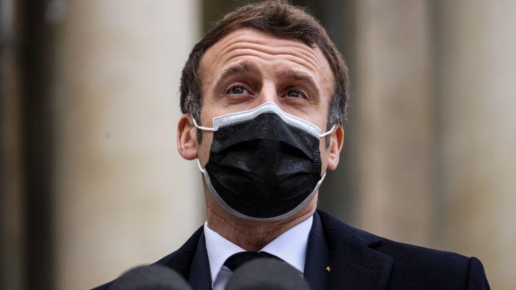 Emmanuel Macron lors d'une conférence de presse à l'Elysée, à Paris, le 16 décembre 2020. (THOMAS COEX / AFP)