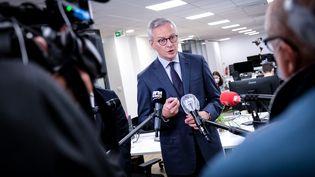 Le ministre de l'Economie, Bruno Le Maire, lors de l'annonce d'un plan pour soutenir les entreprises technologiques touchées par la pandémie de coronavirus,le 5 juin 2020 à Paris. (ELKO HIRSCH / HANS LUCAS / AFP)