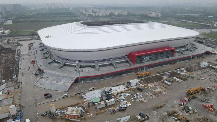 Le Stade Pudong de Shanghai, où va se dérouler la finale des championnats du monde de League of Legends (HOU LUOPENG)
