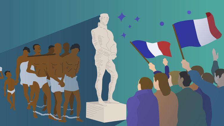Militants antiracistes et historiens s'interrogent sur le devenir des statues quiglorifient des personnalités françaises qui ont joué un rôle dans la colonisation et l'esclavage. (JESSICA KOMGUEN / BAPTISTE BOYER / FRANCEINFO)