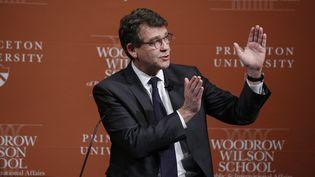Arnaud Montebourg, à l'université Princeton (Etats-Unis), le 23 février 2015. (KENA BETANCUR / AFP)