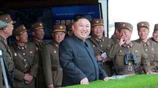 Kim Jong-un lors de la célébration des 85 ans de laRépubliquepopulaire démocratique de Corée, le nom officiel de la Corée du Nord, le 26 avril 2017. (KCNA VIA KNS / AFP)
