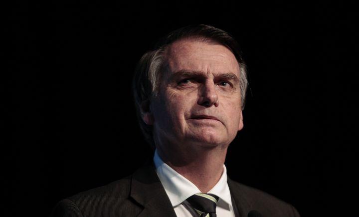 Le candidat d'extrême droite à l'élection présidentielle au Brésil, Jair Bolsonaro, à Sao Paulo, le 18 juin 2018. (MIGUEL SCHINCARIOL / AFP)