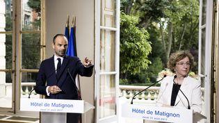 le Premier ministre Édouard Philippe et la ministre du Travail Muriel Pénicaud le 31 août à Paris. (VINCENT ISORE / MAXPPP)