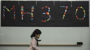 Une fillette passe devant un mur d'avions en papier créé en hommage aux disparus du vol MH370, le 15 juin 2014 à Kuala Lumpur (Malaisie). (MOHD FIRDAUS / NURPHOTO / AFP)