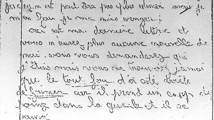Reproduction non datée d'une des lettres de menaces adressées aux parents de Grégory Villemin. (AFP)