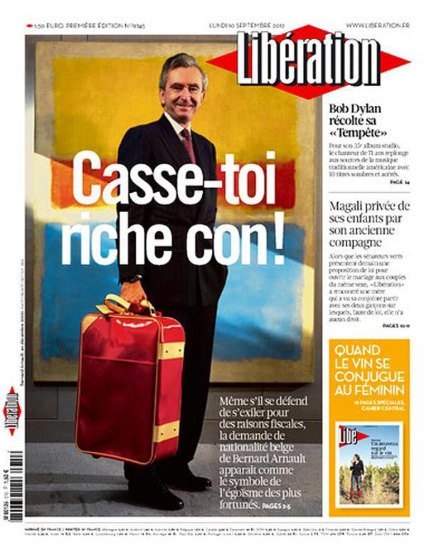 Une de Libération le lundi 10 septembre 2012. (DR)