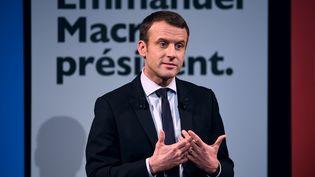 Le candidat à la présidentielle, Emmanuel Macron, à Paris, le 8 mars 2017. (ERIC FEFERBERG / AFP)