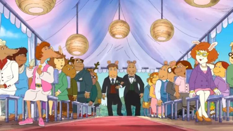 L'épisode refusé par la chaîne APT présente le mariage de l'institueur Nigel Ratburn et du chocolatier Patrick.  (PBS)