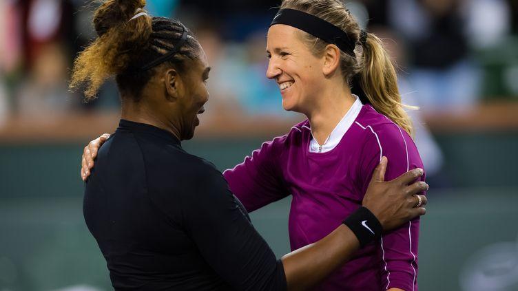 Serena Williams et Victoria Azarenka lors du deuxième tour du tournoi d'Indian Wells 2019 (ROB PRANGE / SPAINDPPI)