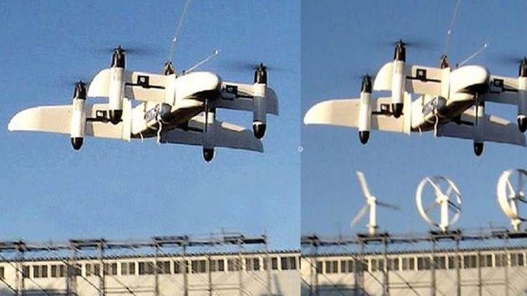 A gauche, le drone présenté comme iranien. A droite, l'original japonais. (FRANCETV INFO)