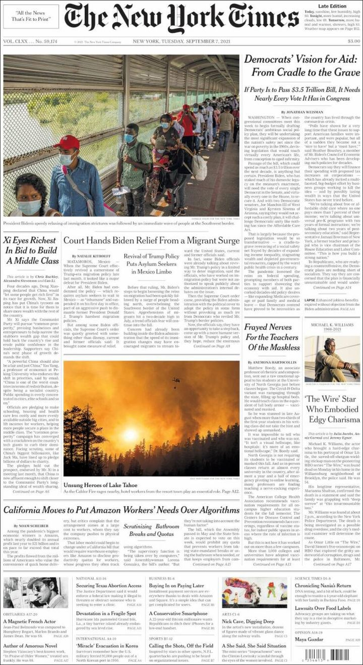 """La une du """"New York Times"""", le 7 septembre 2021. (NEW YORK TIMES)"""