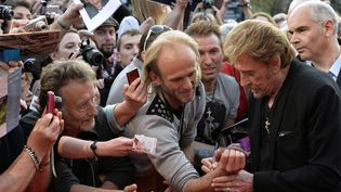 Johnny et ses fans à Beaune en 2014  (JEAN-PHILIPPE KSIAZEK / AFP)