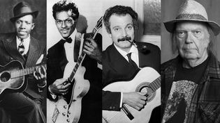 Robert Johnson, Chuck Berry, Georges Brassens et Neil Young (Hooks - Delta Haze Corporation / Ronald Grant - Mary Evans - SIPA / Dalmas -Barrier - SIPA / Rebecca Cabage -AP - SIPA)